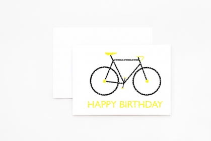 Klappkarte - Happy Birthday - Fixie - gelb