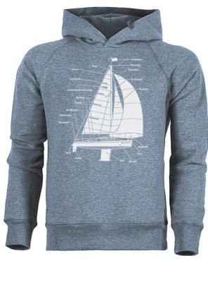 Hoodie - Segelboot - heather blau