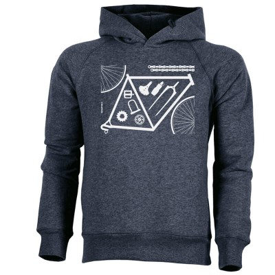 Hoodie - Bicycle parts - dark heather denim - unisex