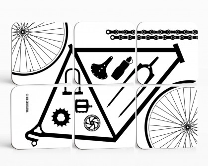6er Set Untersetzer - Bicycle Parts