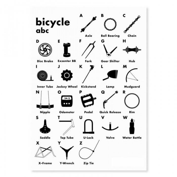 Postkarte Bicycle abc