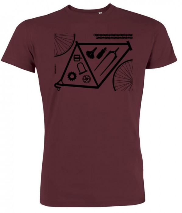 Fahrrad Shirt - Bicycle parts - burgundy - Fair gehandelte Biobaumwolle