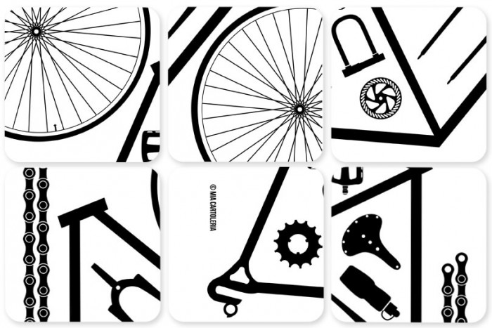 6er Set Untersetzer Bicycle Parts