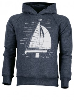 Hoodie - Segelboot - dark heather denim - unisex